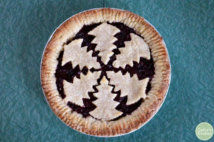 Vegan pie with tree cut-outs.