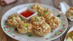 Filo cups filled with non-dairy cream cheese and vegan crab cakes.