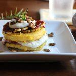 Vegan polenta stacks with squash & cashew cream