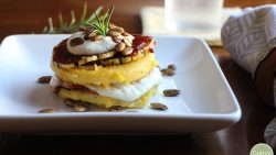 An eye-catching vegan main course - Polenta stacks with barbecue squash & cashew cream | Polenta recipe | cadryskitchen.com