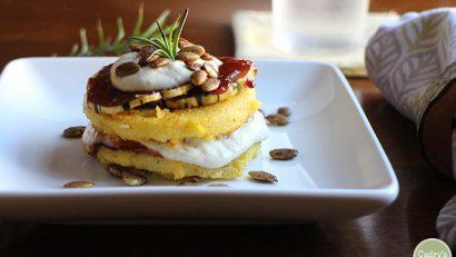 An eye-catching vegan main course - Polenta stacks with barbecue squash & cashew cream | Polenta recipe | cadryskitchen.com
