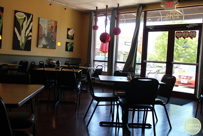 Interior Olive Tree Cafe in Bettendorf, Iowa - a vegan Quad Cities option.