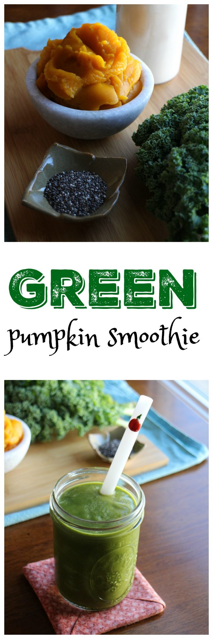 Green Pumpkin Smoothie: This autumnal vegan smoothie is packed with pumpkin, kale, bananas, and non-dairy milk. It's a delicious breakfast or anytime snack.   cadryskitchen.com
