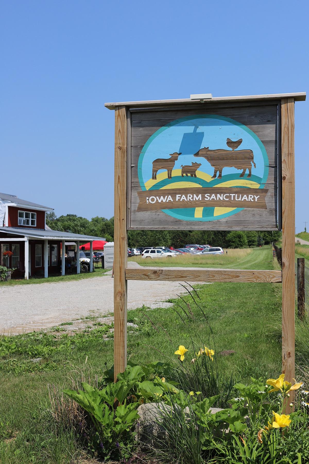 Iowa Farm Sanctuary sign by farm.