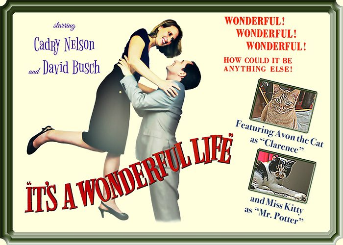 Christmas card that spoofs It's a Wonderful Life poster.