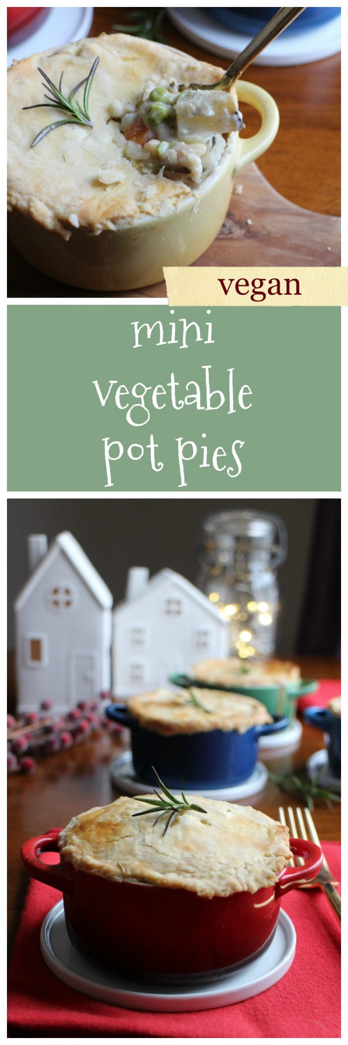 Mini vegetable pot pie: The perfect vegan main course for your holiday gathering or dinner party. They are made with chickpeas, vegetables aplenty, and cashew cream. On top, a flaky pie crust using @Bob's Red Mill flour #BobsHolidayCheer | cadryskitchen.com