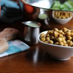 Air fried chickpeas in bowl by dolmas.
