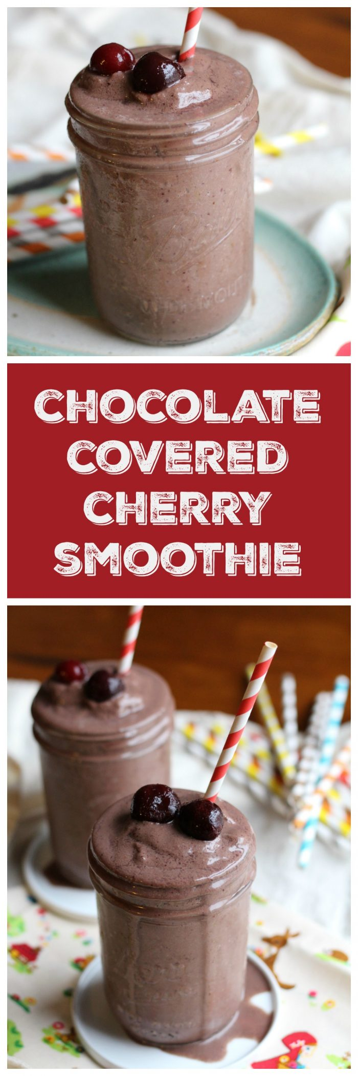 Chocolate covered cherry smoothie from 40 Days of Green Smoothies by Becky Striepe. This vegan & dairy-free smoothie tastes like a dessert but is packed with nutrient-dense ingredients. Great for breakfast or a snack! | cadryskitchen.com