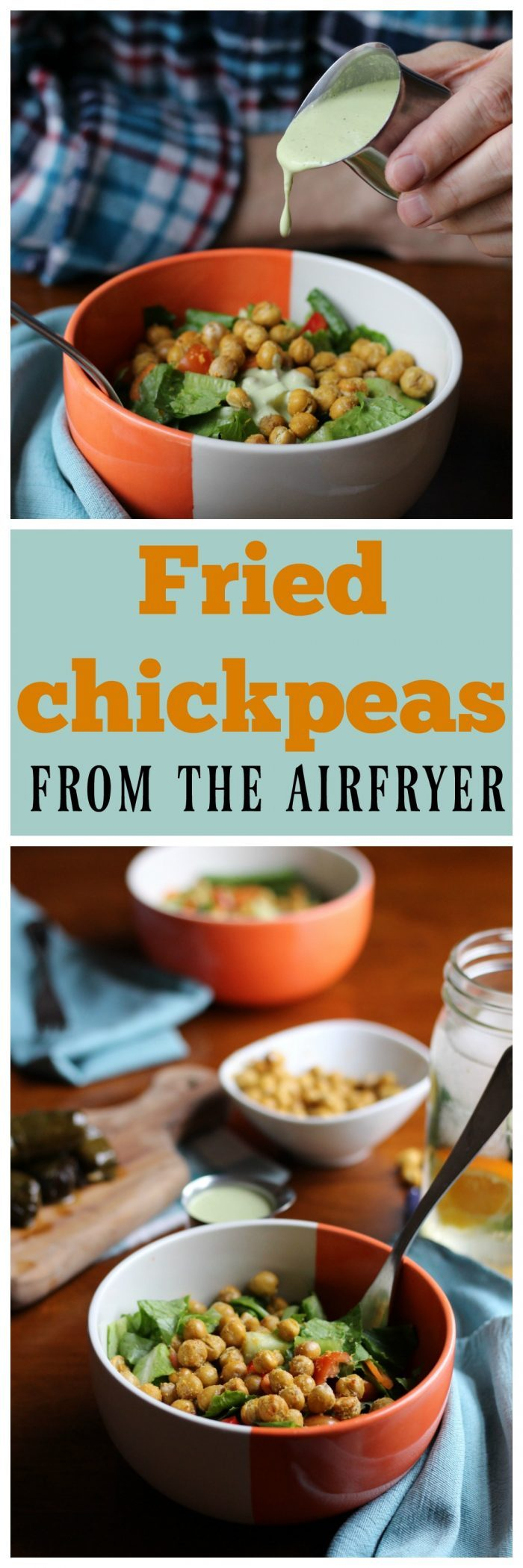 Make fried chickpeas in the airfryer. They're great as a salad topping or snack. Vegan & packed with protein.   cadryskitchen.com