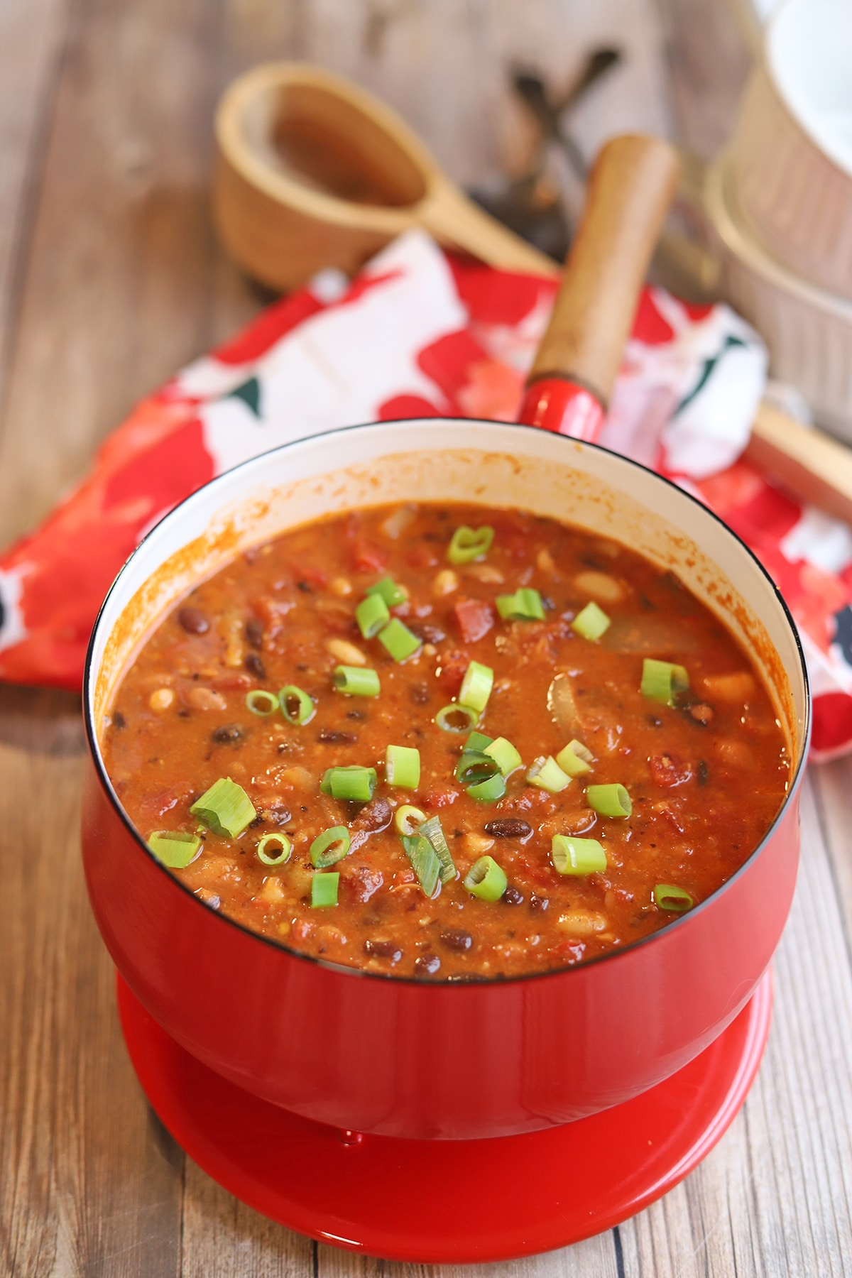 Three bean chili in soup pot.
