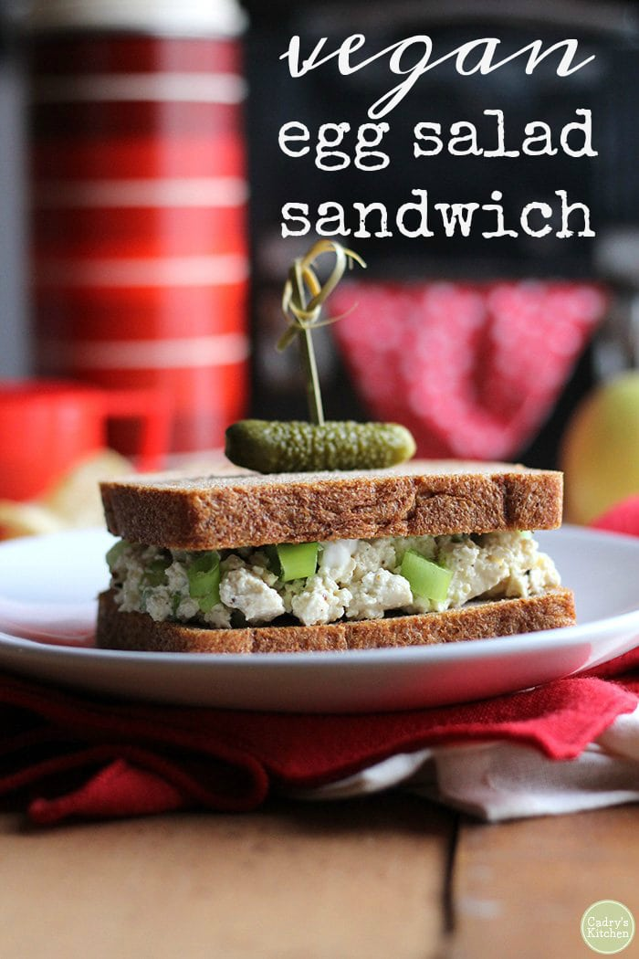 All the taste of an egg salad sandwich, but entirely vegan! A great lunch option that couldn't be quicker to make. Lunch is ready in five minutes. Perfect for a packed lunch. #vegan #lunch #sandwich #tofu #eggless #vegetarian