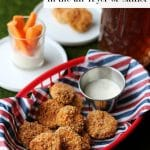 Crispy fried pickles in the air fryer or skillet text. Plus, beer battered pickles with vegan ranch in basket.