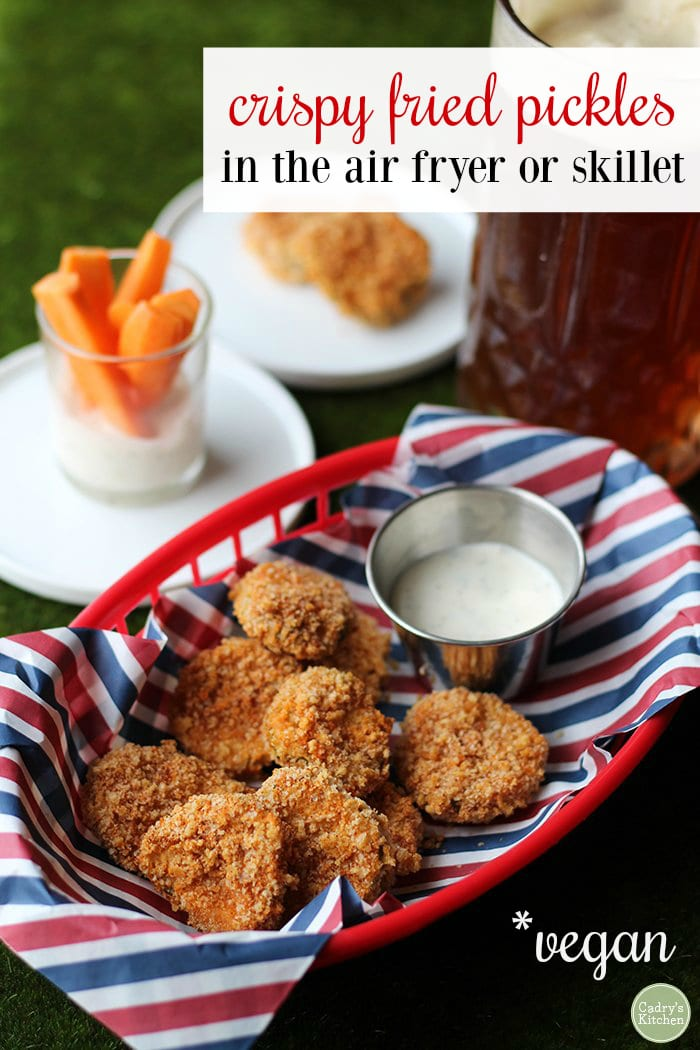 Fried pickles are coated in beer batter and finished with panko bread crumbs. Crispy fried pickles in the air fryer or skillet. #vegan #appetizer #starter #football #snack #dairyfree | cadryskitchen.com