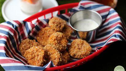 Crispy fried pickles in the air fryer or skillet | vegan | beer battered | appetizer | super bowl | starter | football | snack | dairy free | cadryskitchen.com