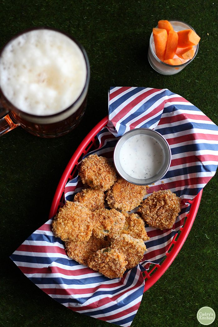 Crispy fried pickles in the air fryer or skillet | vegan | appetizer | super bowl | starter | football | snack | dairy free | cadryskitchen.com