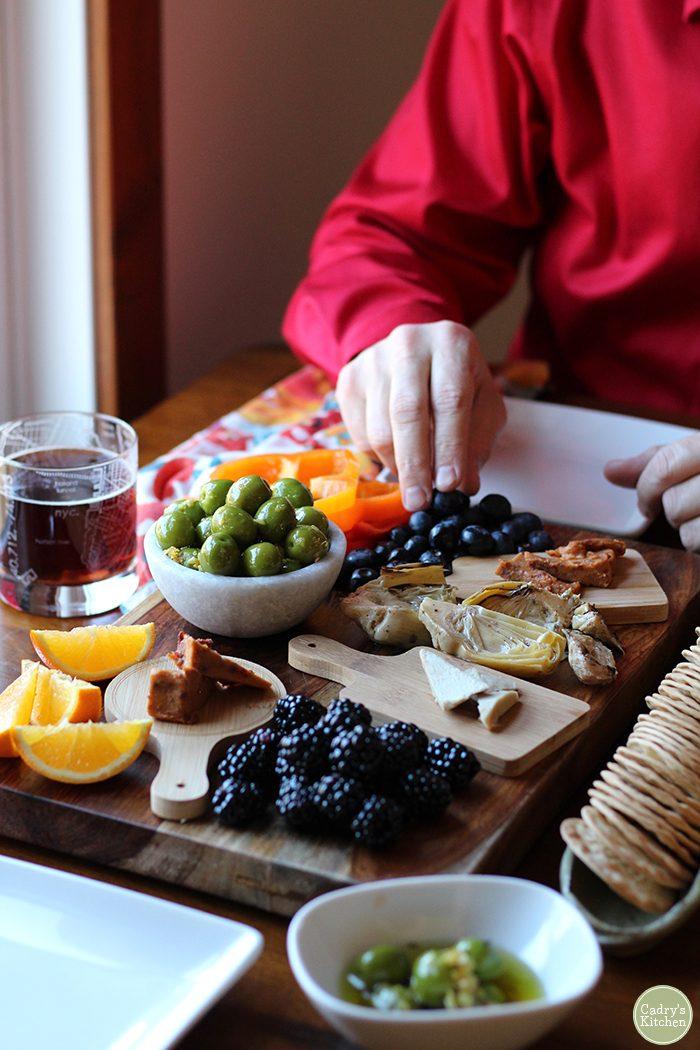Warmed castelvetrano olives with lemon & garlic: A beautiful vegan, gluten-free appetizer | cadryskitchen.com