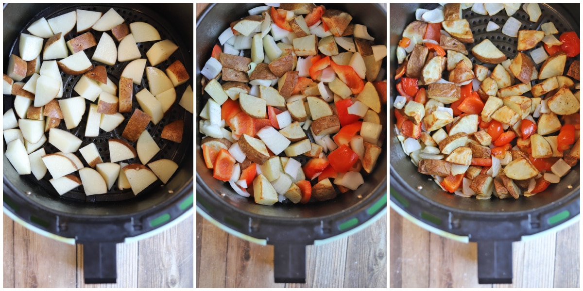 Process shots of potatoes, peppers, and onions in air fryer basket.