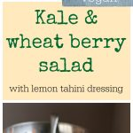 Kale & wheat berry salad with lemon tahini dressing. This hearty vegan salad is great in cold weather months. | cadryskitchen.com