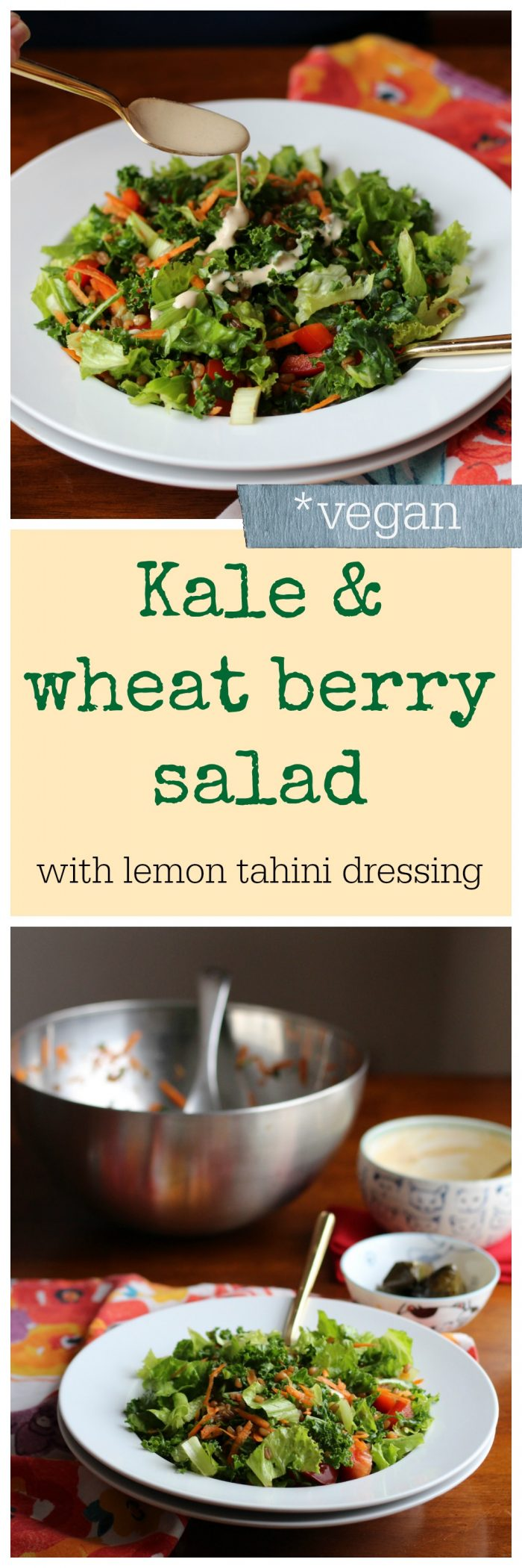 This hearty vegan salad with kale & wheat berries is great in cold weather months. It's topped with a drizzle of lemon tahini dressing. | cadryskitchen.com