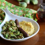 Polenta breakfast with Brussels sprouts & sausage