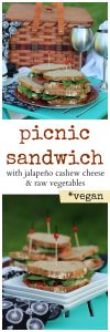 Vegan picnic sandwich with jalapeno cashew cheese spread & raw vegetables. Perfect for a summer outing! | cadryskitchen.com