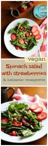 Long pin for Pinterest with spinach salad, strawberries, and balsamic vinaigrette.