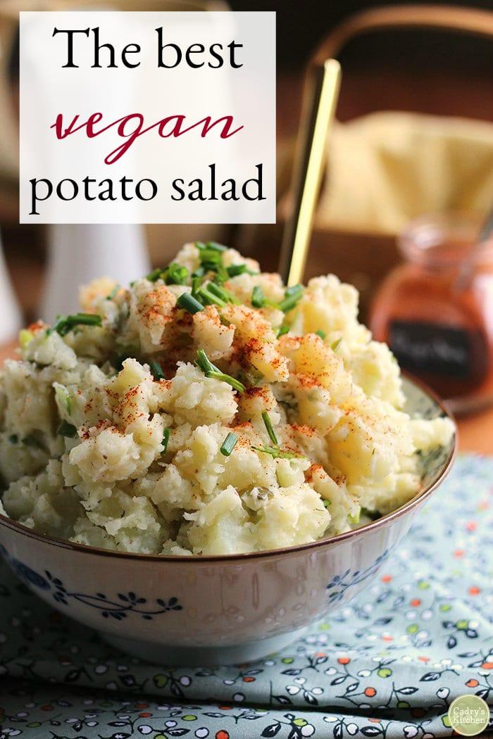 Get ready for picnic season with the best vegan potato salad. This creamy potato salad is dotted with pickles & green onions. | cadryskitchen.com #vegan #dairyfree #eggfree #glutenfree #side #sidedish