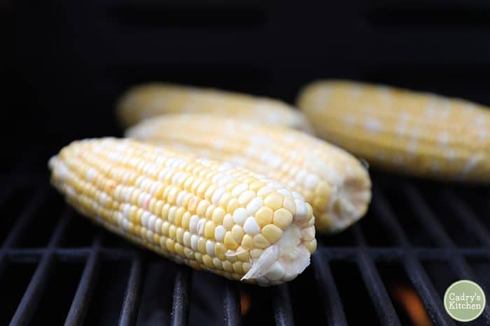 Ears of corn on the grill.