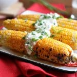 Buffalo corn on the cob with vegan blue cheese