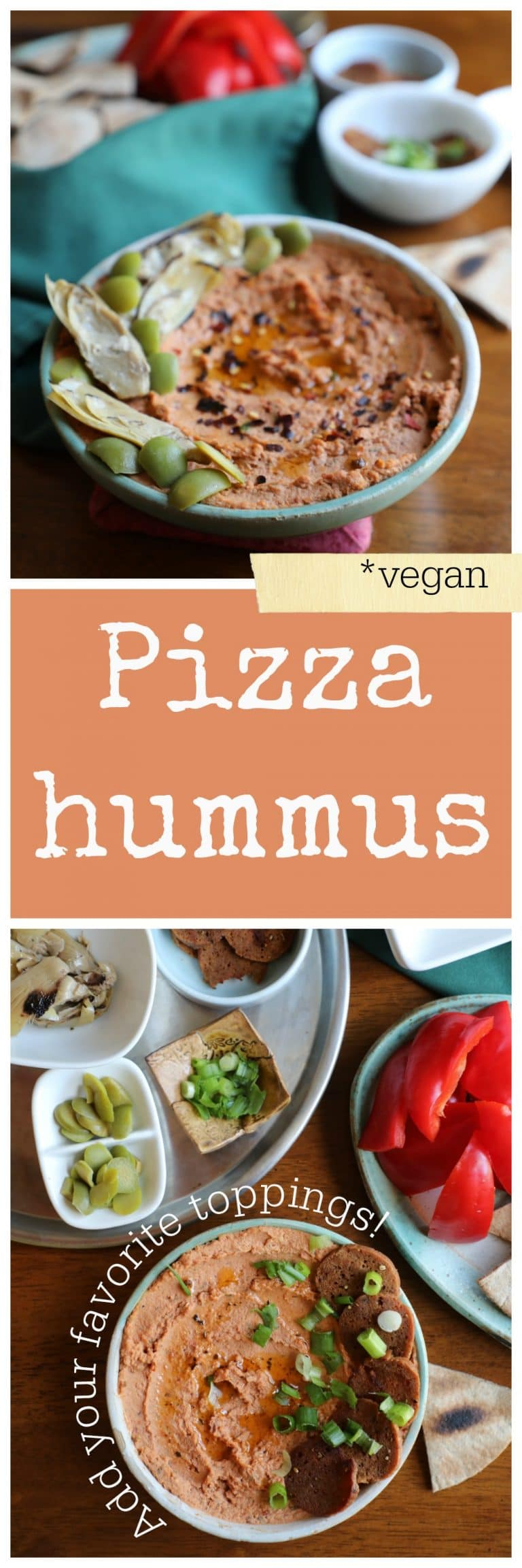 Pizza hummus made with sun-dried tomatoes. Simply add your favorite toppings, like seitan pepperoni or artichoke hearts! Vegan & gluten-free optional appetizer | cadryskitchen.com