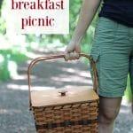 Vegan breakfast picnic text. Plus, Cadry holding picnic basket.