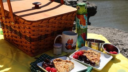 Vegan breakfast picnic with basket, thermos, coffee mug, and plates of quiche with berries.