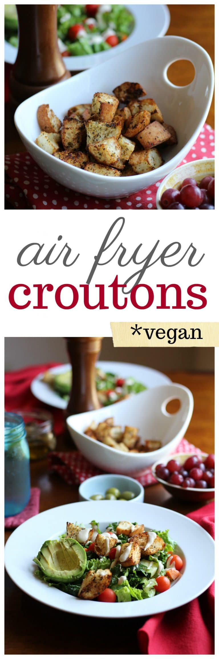 Air fryer croutons: Repurpose leftover bread into the perfect salad topper. Add crunch to lunch! | cadryskitchen.com
