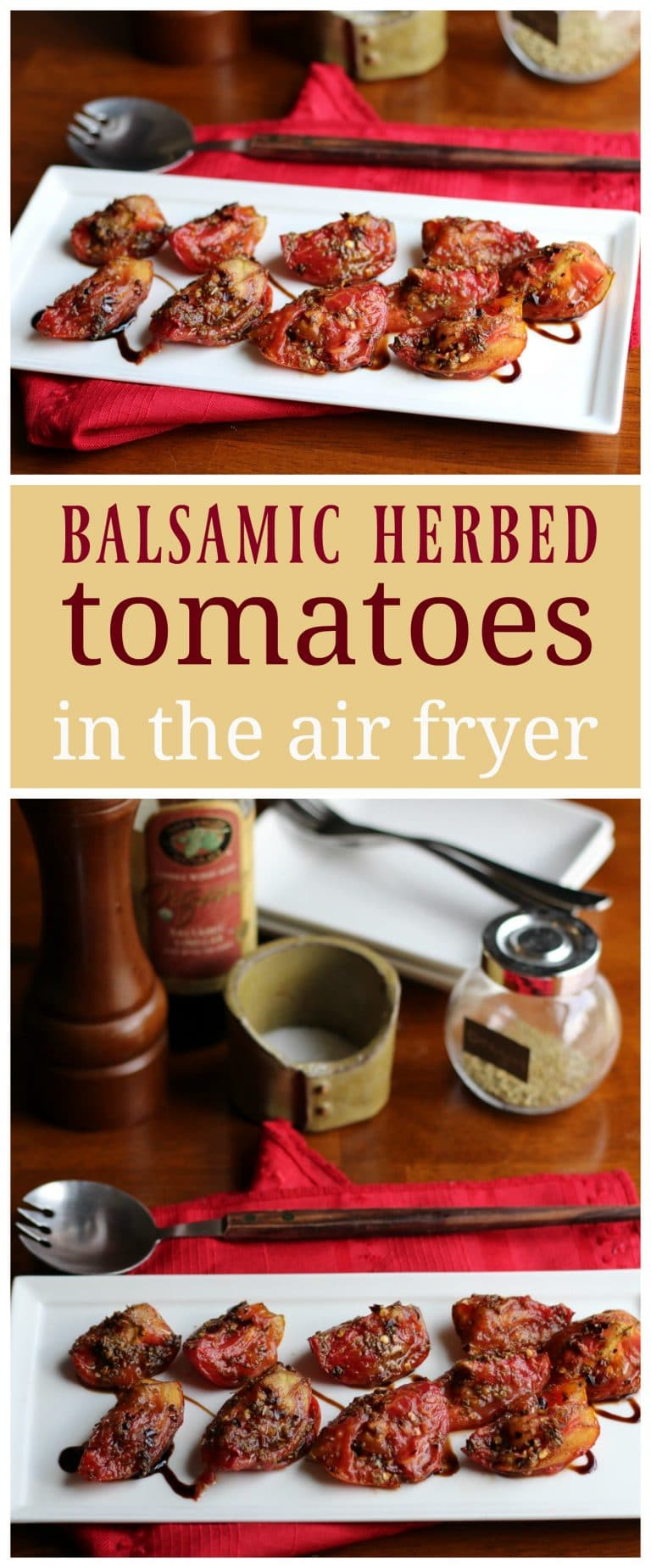 These balsamic tomatoes would be a wonderful summertime side dish, as well as a great addition to pasta. Get the recipe & hear about The Vegan Air Fryer by JL Fields.