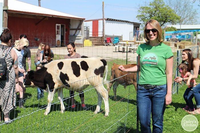 Cadry at Iowa Farm Sanctuary, Carl in background