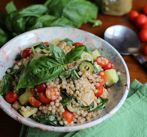 Israeli Couscous Salad With Olives Artichokes Cadry S Kitchen