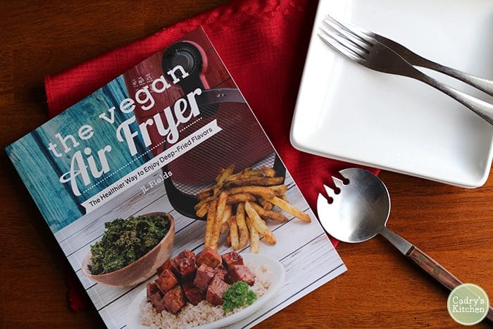 Cover of The Vegan Air Fryer cookbook by JL Fields.