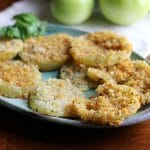 Potato chip crusted fried green tomatoes in the air fryer