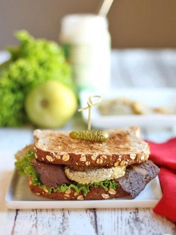 Vegan BLT with seitan bacon & fried green tomato.