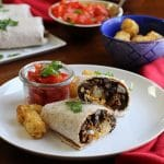 Vegan bean burritos with seitan chorizo & tater tots