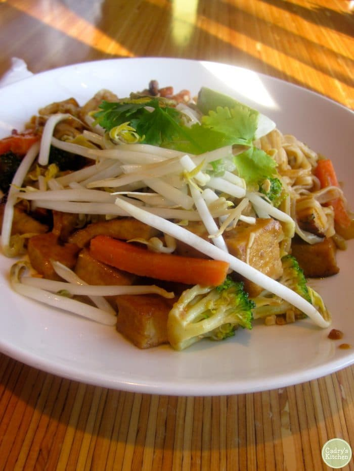 Thai peanut noodles at Noodles & Company with bean sprouts and cilantro.