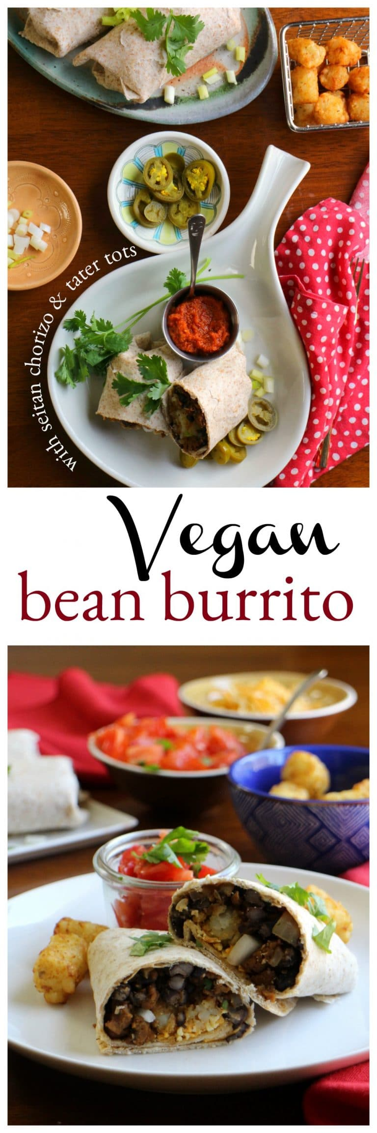 Overhead vegan bean burrito on plate with tater tots, jalapenos, and salsa.