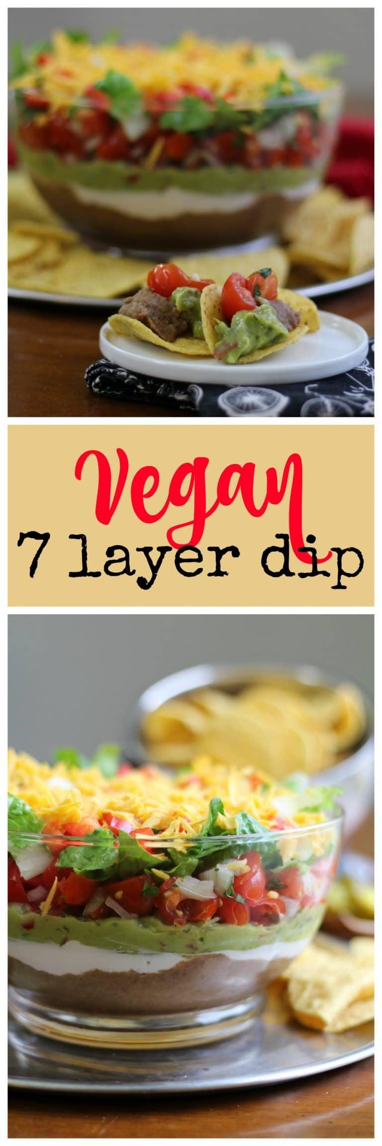 Vegan 7 layer dip in glass bowl