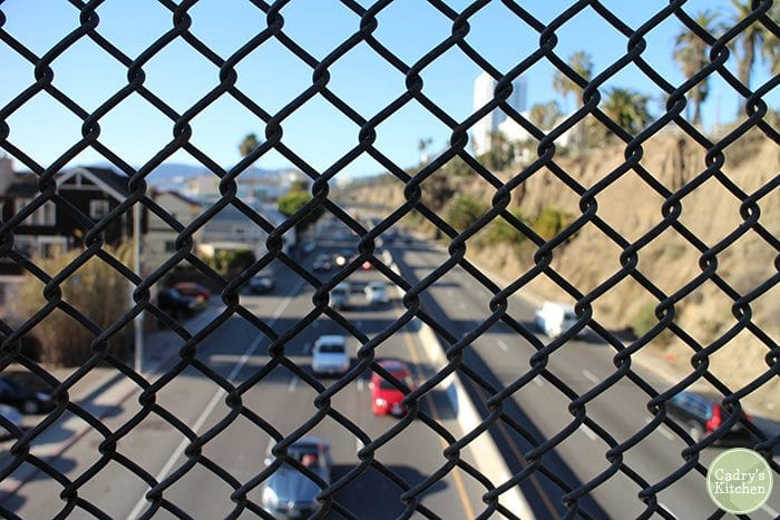 Pacific Coast Highway, traffic, through fence.