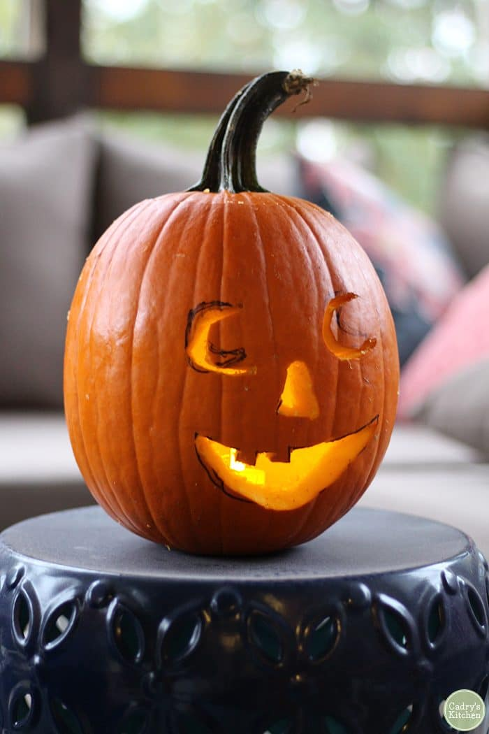 Carved jack o' lantern pumpkin.