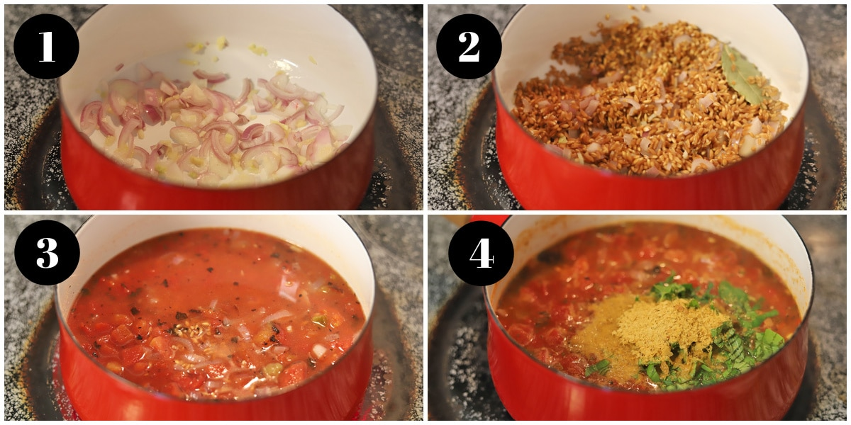 Step by step panels showing how to make farro.