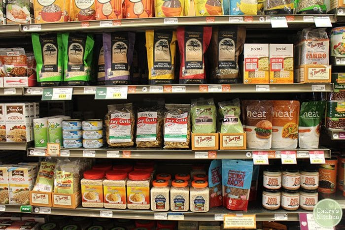 Vegan products on shelf at Wheatsville Co-op in Austin, Texas.