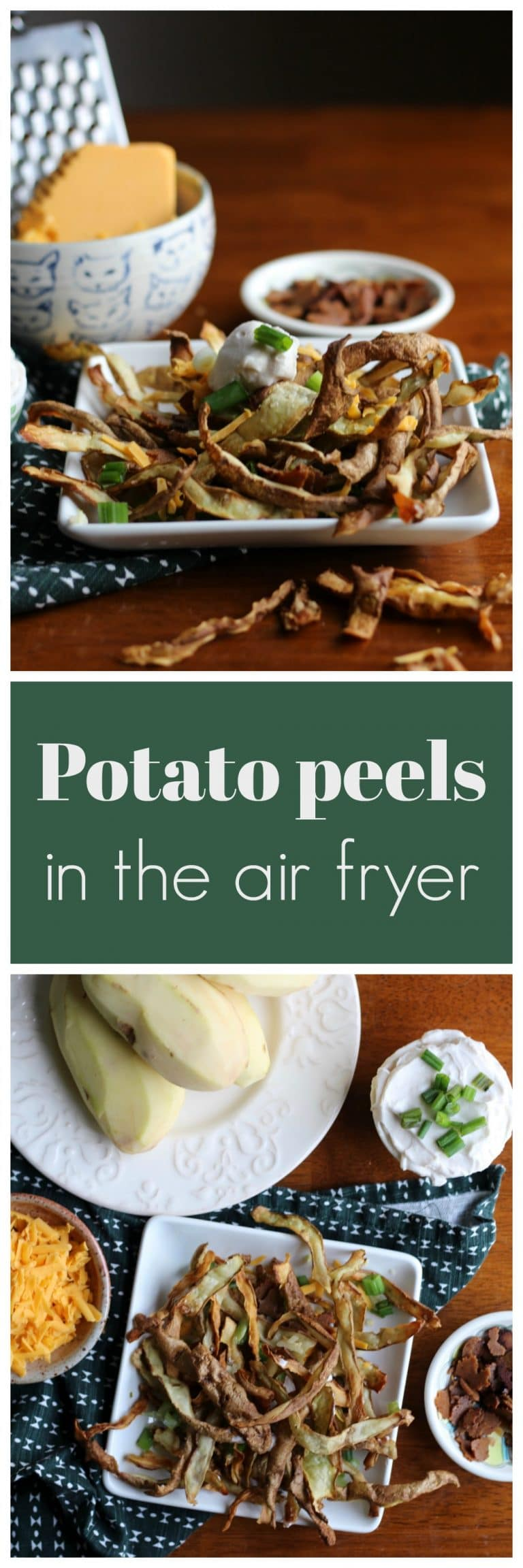 Don't let those potato peels go to waste! Air fry them instead for a hot and crispy snack. #vegan #glutenfree #airfryer