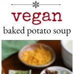 Vegan baked potato soup in white mug bowl with seitan bacon, vegan cheese, and green onions + text.