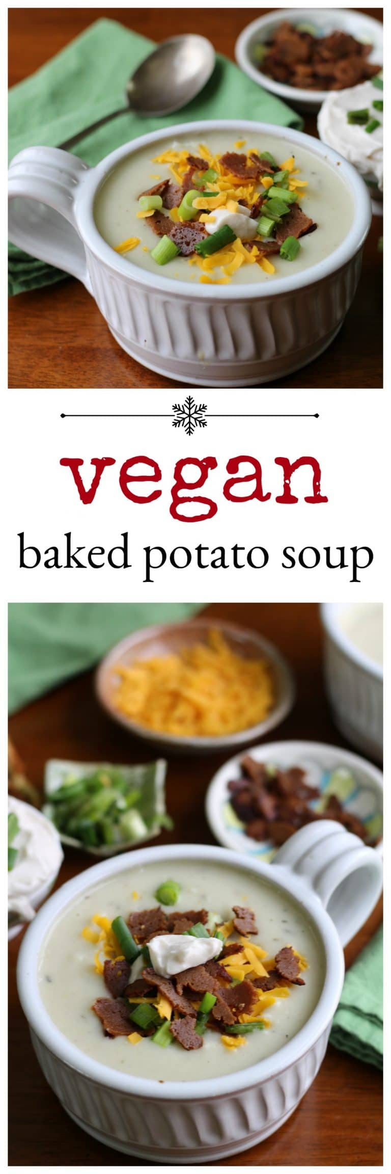 Fully loaded vegan baked potato soup: This full-bodied soup is topped with seitan bacon, vegan cheese, and green onions. | cadryskitchen.com #vegan